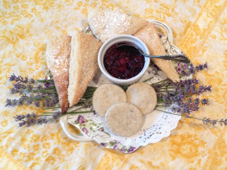 Scones & lavender berry compote, served at Tour Tea, heritagelavender