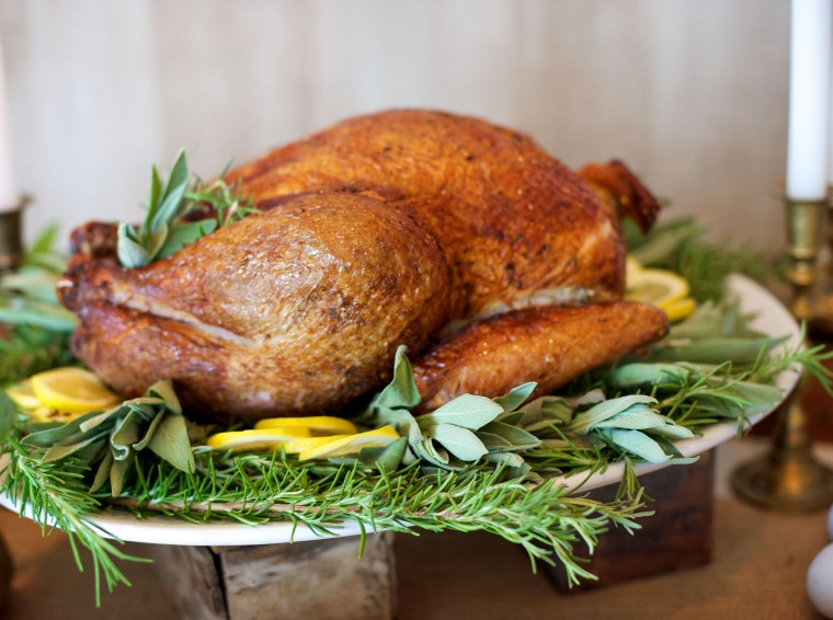 Thanksgiving buffet, tight shot of turkey